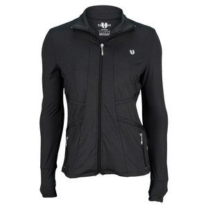 This I must have.  The EleVen Women's All Court Zip Tennnis Jacket Black is a must have for cooler weather. This full zip jacket is made to fit and flatter, with a rouched bodice and diagonal seaming that really slims the waistline. The high collar provides wind resistance to keep you warm, while the two front pockets give you valuable storage. The thumbholes at the ends of the sleeves add that touch of comfort that's so important in fitness wear.Fabric: 82% Polyester/18% SpandexColor: