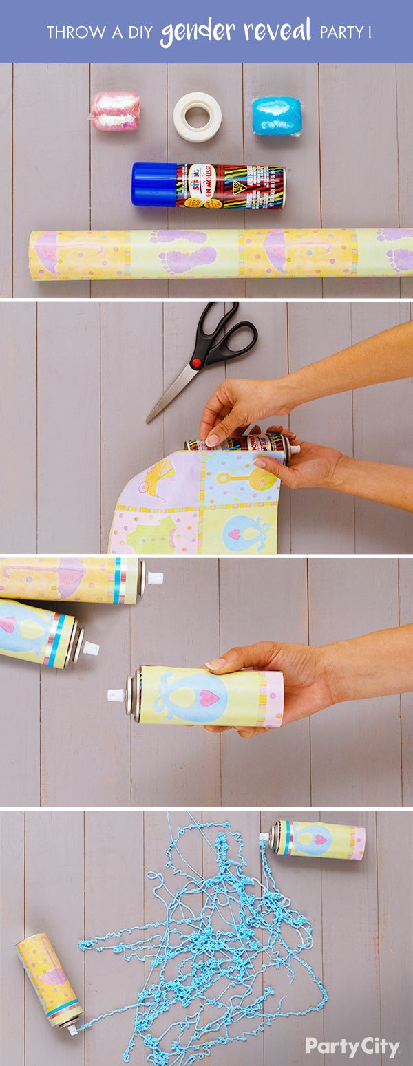 Throw a DIY gender reveal party that will keep guests in suspense! Use scissors to cut a small section of our baby nursery gift wrapping paper. Then, wrap a can of streamer string. The color of the string will depend on the gender of the baby. Use scissors to neatly trim both ends. To accent the top of each can, tape a small piece of our light blue curling ribbon and pink curling ribbon. Then you're ready to reveal the gender! Remove the cap, shake, spray and reveal!