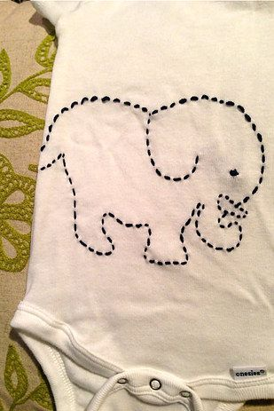 Try a simple embroidery. | 10 Great Ways To Upcycle Baby Clothes