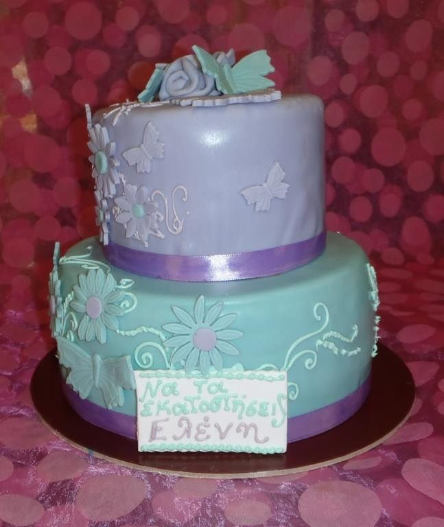 Handmade birthday cake butterflies and flowers purple and green