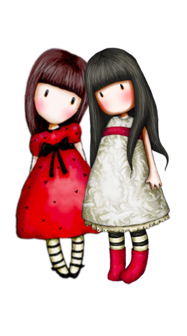 Gorjuss - Amiche in bianco e rosso - H 14cm