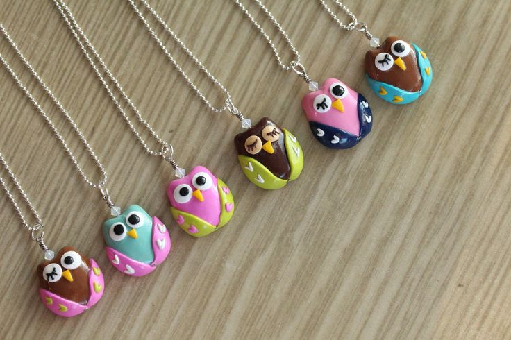 Polymer Clay Owl Pendant Necklace with Swarovski Elements Glass Beads. $15,00, via Etsy.