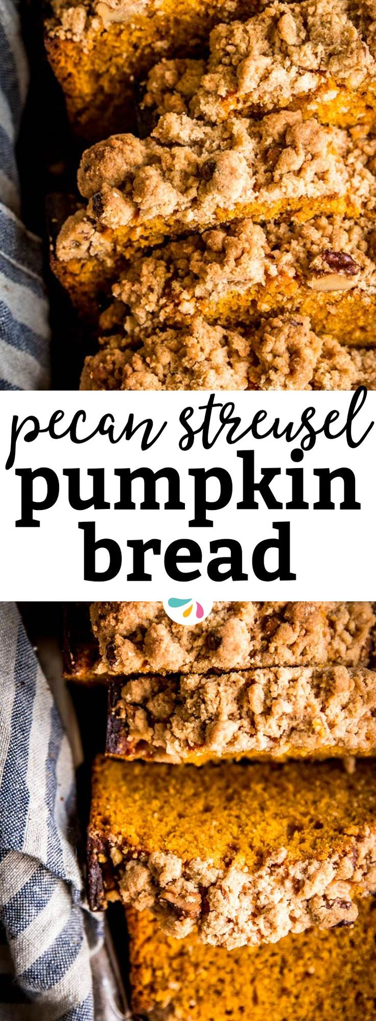 This is an easy recipe for a moist and fluffy pumpkin bread that will have everyone begging for more! It's made with the BEST cinnamon pecan streusel topping for extra crunch & flavor. A simple treat, totally from scratch, that will make you feel like Pioneer Woman herself ;) Don't skip the classic fall quick bread this year - for Halloween, Thanksgiving or just because! Makes two loaves, so you'll have one as a cozy homemade gift idea. | #fall #halloween #pumpkin #recipe #baking…