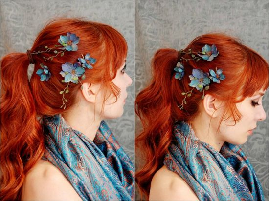 simple ponytail hairstyle with flowers and colored cheap hair extension clip in