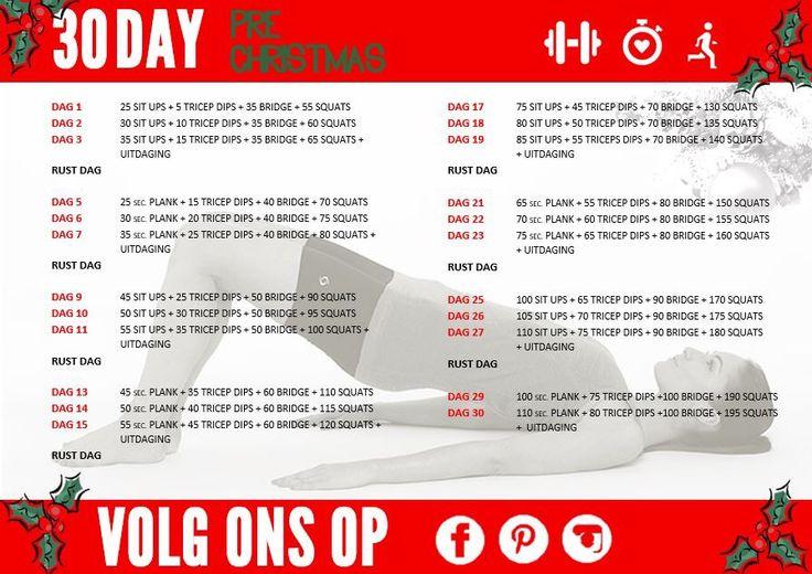 Kom in shape voor de kerstdagen met de 30 day Pre Christmas Challenge!