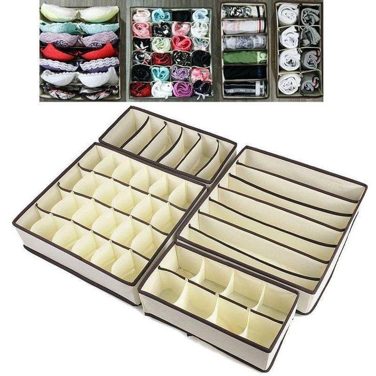 4 Pack Aufbewahrung Lösung Box Kleiderschrank Organizer Schublade Bra Socken BH in Möbel & Wohnen, Klein- & Hängeaufbewahrung, Boxen   eBay!