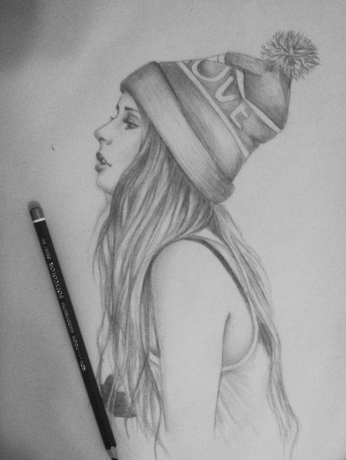 Картинки карандашом девочка в шапке