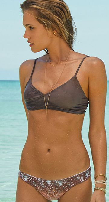 obsessed with sequins & love taupe color so love her swimsuit