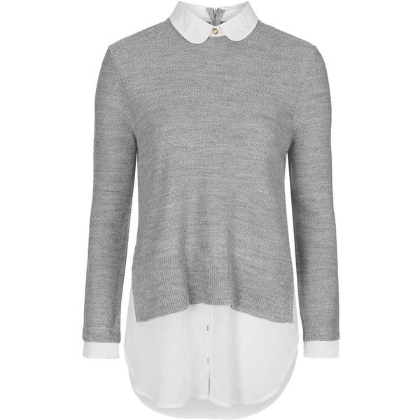 TOPSHOP PETITE Round Collar Hybrid Jumper ($63) ❤ liked on Polyvore featuring tops, sweaters, shirts, grey marl, petite, layered sweater, topshop sweaters, marled sweater, jumpers sweaters and grey top