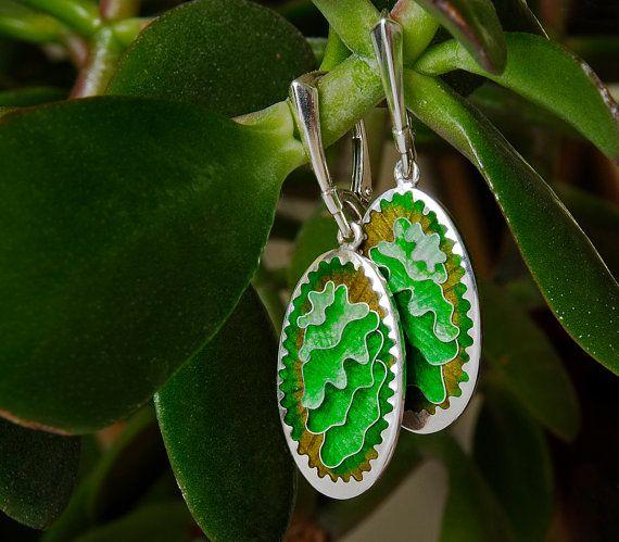 Green Oval Enameled Earrings from Sterling by NikolozJewelry