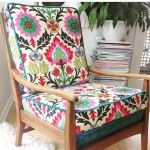 Stunning patterned fabric on this  upholstered vintage chair by Little and Fox Design. Hawkes Bay, NZ