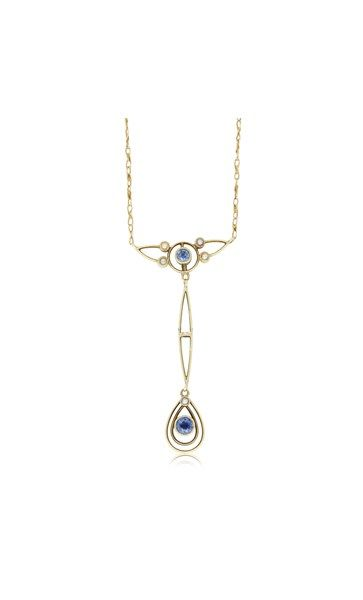Vintage 15ct yellow gold sapphire & seed pearl necklace