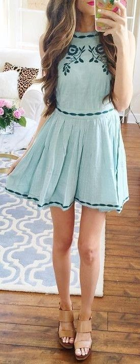 #summer #preppy #outfits    Teal Embroidered Dress