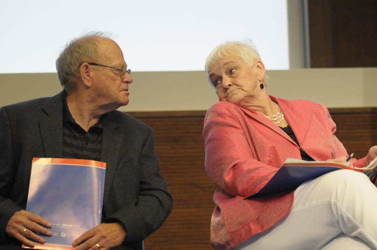 Betty and Rolly Fox (Terry's parents) share a moment at the media conference in his honour.