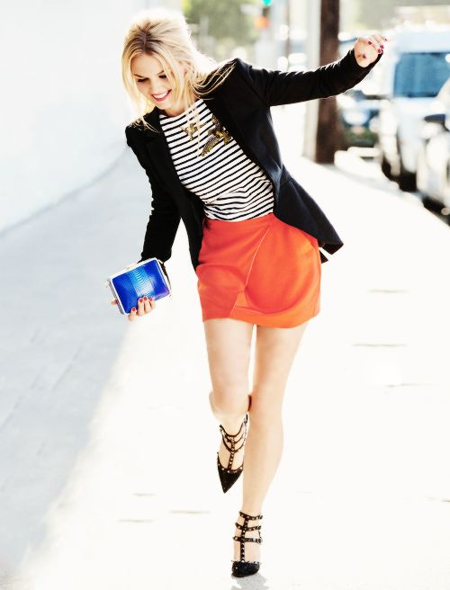 Red skirt and striped top create colorful outfit. Jennifer Morrison is just…