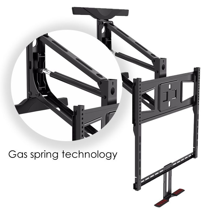 TranquilMount Pull down out tv mount above the fireplace Mantel. The easy to use gas spring technology TV Mount brackets for eye level viewing