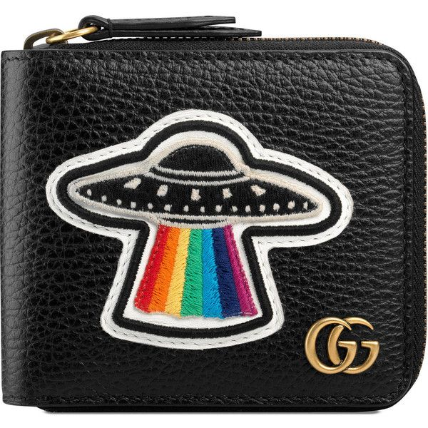 Gucci Leather Coin Wallet With Ufo ($595) ❤ liked on Polyvore featuring men's fashion, men's bags, men's wallets, men, wallets, black, mens credit card holder wallet, mens wallet, mens leather wallets and mens leather zip around wallet
