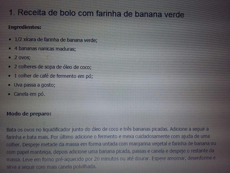 Bolo de farinha de banana verde