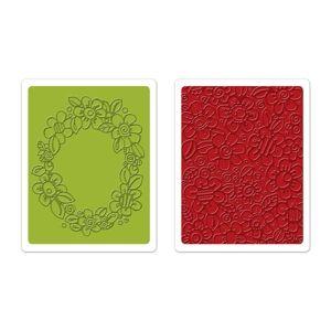 Sizzix Textured Impressions Embossing Folders 2PK - Wreath & Flowers Set €10,19