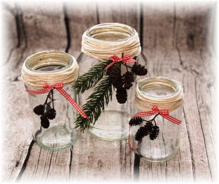 Teelichtglas Set Weihnachten Dekoration Windlicht von -Nordpol- auf DaWanda.com