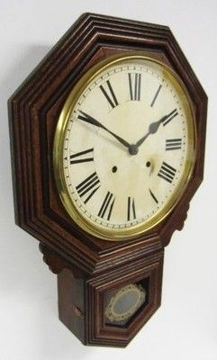Antique walnut gong striking drop dail wall clock glass viewing panel big dial Description Please read before bidding, Thank you! Thank you for viewing my listing, I am a brand new company on ebay bu