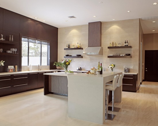 Contemporary Kitchen No Upper Cabinets Design, Pictures