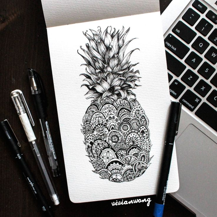 Pineapple Zentangle | Black Fineliner Pen (Find me athttp://www.colour-to-inspire.tumblr.com,http://instagram.com/vivianhitsugaya or http://www.facebook.com/vivianwongart) Do not remove credit.