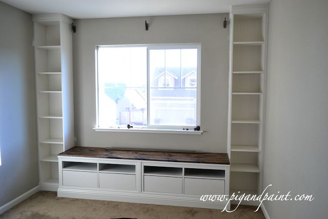 IKEA hack window seat and bookcases (Billy bookcases and Hemmes tv stands)