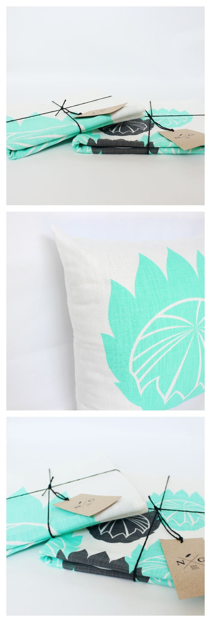 @noteworthy_girl | The Mini Protea Scatter Cushion // designed in South Africa, hand-printed by a family run studio and sewn by a group of ladies from a local township. Ethically made home decor for modern homes that enjoy a pop of aqua or mint cushion covers.
