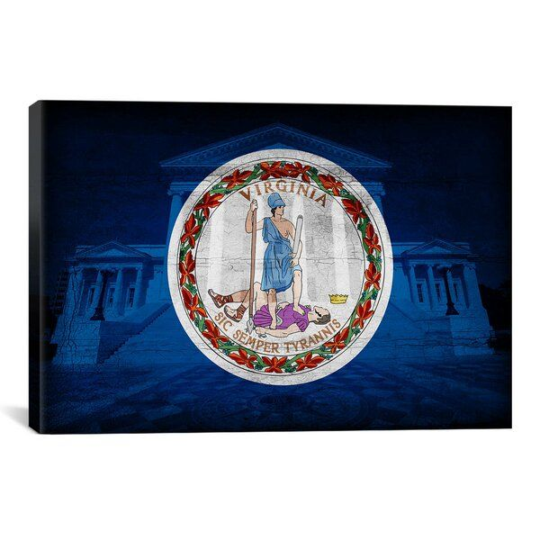 Flags Virginia State Capitol With Cracks Graphic Art On Canvas In 2020 Hand Painting Art Graphic Art Canvas Art