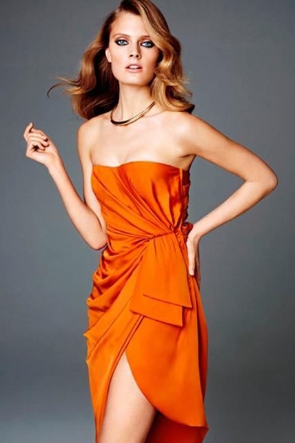 orange cocktail dress [h+m conscious collection]