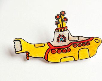 yellow submarine The Beatles epic cult shrink plastic brooch hand painted
