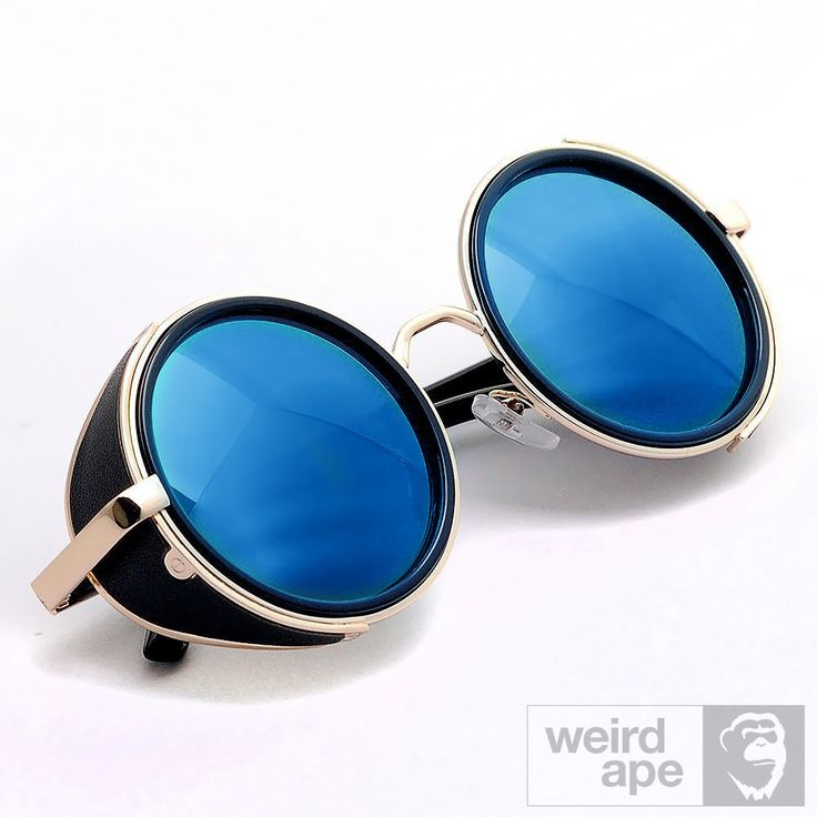Side Shield Steampunk #Sunglasses - Gold Frame #Blue Mirrored Lens
