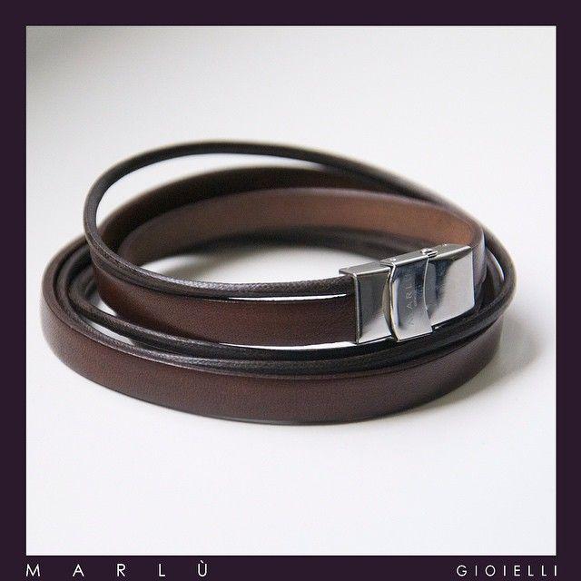 Bracciale in pelle marrone con inserto in acciaio della collezione #ManTrendy Brown leather bracelet with steel detail. #ManTrendy Collection by Marlù Gioielli