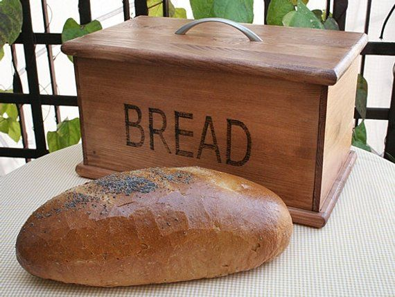 Free Shipping Wooden Handmade Bread Box Vintage Style Big Etsy Handmade Bread Bread Boxes Wooden Bread Box