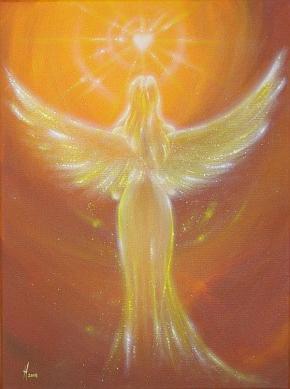 """Limited angel art poster """"The heart knows it"""", modern contemporary angel painting, artwork, print, glossy photo❤️"""