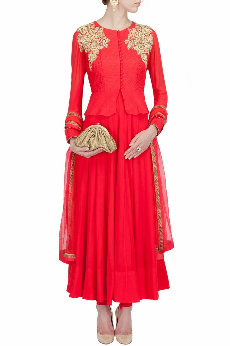 Vermillion quilted peplum kurta set BY ANEESH AGARWAAL. Shop now at perniaspopupshop.com #perniaspopupshop #clothes #womensfashion #love #indiandesigner #aneeshagarwaal #happyshopping #sexy #chic #fabulous #PerniasPopUpShop #ethnic #indian