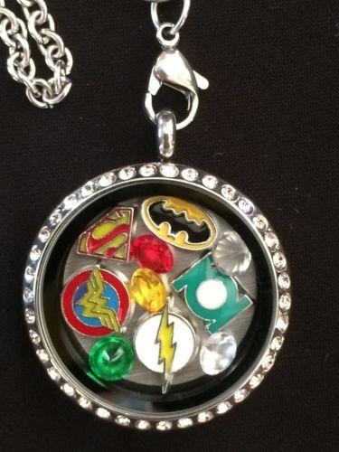 DC Comics Inspired Living Locket Necklace Batman Superman WonderWoman