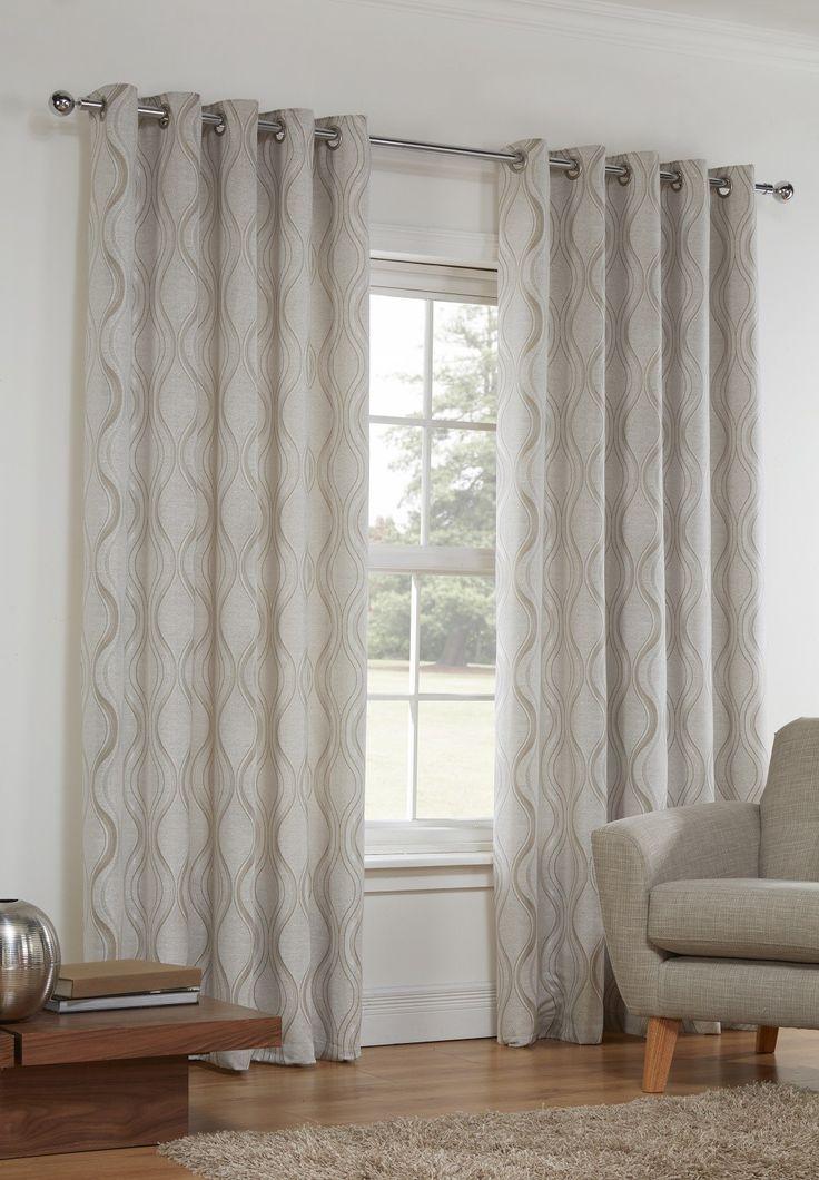 Sienna Natural Lined Eyelet Curtains