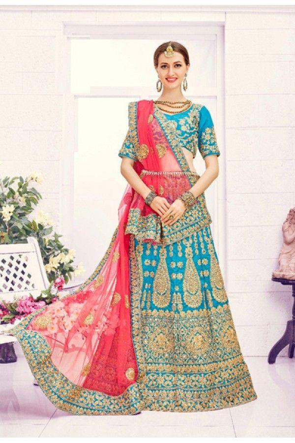 Festival Wear Sky Blue Designer Bridal Lehenga Choli - 19871