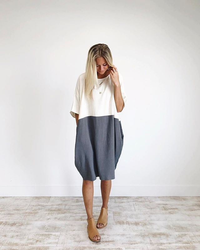 Our best selling linen pocket dress is now available in COAL!
