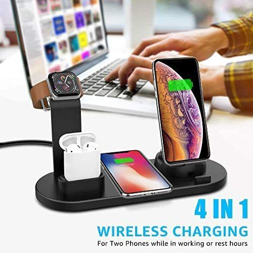 Aegea North Wireless Charger Universal 4 In 1 Charging Device For Iphone Samsung Airpods And Smartwatch 10w In 2020 Apple Watch Iphone Charging Dock Unique Gadgets