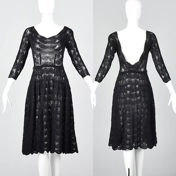 A classic little black dress with a twist!  Sheer black crochet lined in mesh, gorgeous!  1950s, 50s, 50s style, 50s fashion, 50s vintage, 1950s vintage, vintage 50s, vintage 1950s, 1950s dress, 50s dress, 1950s dresses, 50s dresses, vintage dress, vintage dresses,1950s girl, 50s girl, 1950s girls, 50s girls, 1950s gal, 50s gal,Pin up girl, pinup, pin up style, pinup fashion, true vintage dress, Backless Dress, Low Back Dress