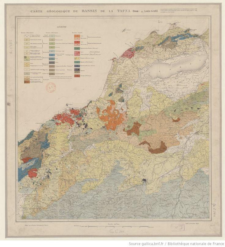 Carte géologique du bassin de la Tafna (Oran) / de Louis Gentil ; Publié par le Service géologique de l' <mark class='highlightedText'>Algérie</mark>