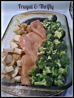 1 pan chicken dinner...I do this with fish, and it works pretty well.  Super easy cleanup if you use foil as a liner.