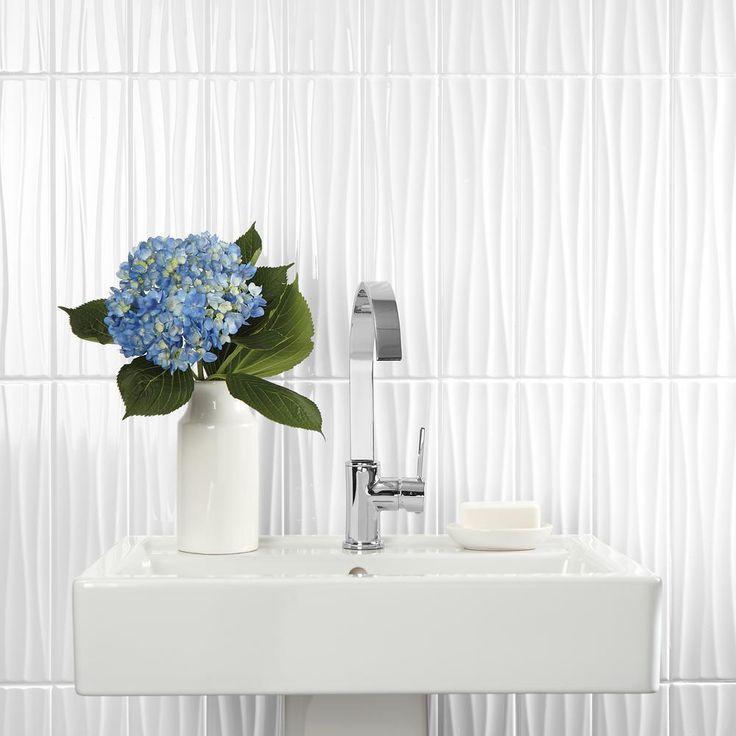 Daltile Finesse Bright White 4 In X 16 In Ceramic Wavy Wall Tile 10