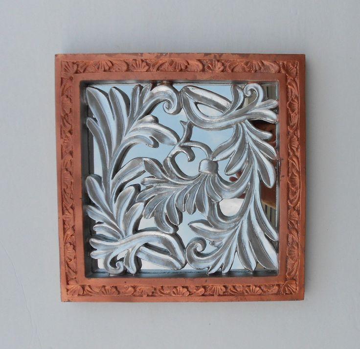 "11.5"" x 11.5"", Square Mirror, Decorative Mirror, Small Wall Mirror, Wall Mirrors, Copper Frame Mirror, Copper & Silver Leaf Mirror by GoldLeafGirl on Etsy"