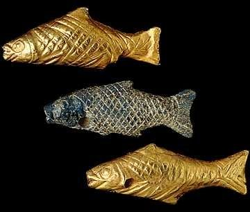 ∆ Sumerian gold and lapis lazuli fish found in the tomb of Paabi in the Sumerian holy city Ur, where the Patriarch Abraham belongs