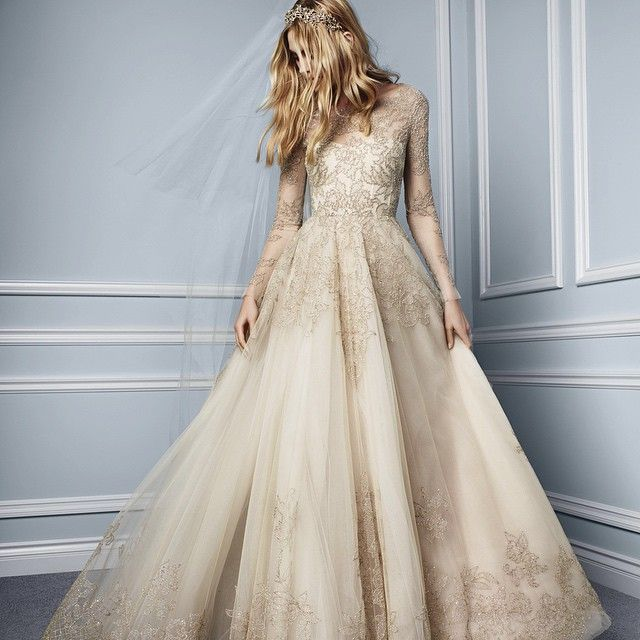 "Monique Lhuillier ""Elizabeth"" rose gold embroidered tulle ball gown wedding dress with illusion long sleeves... HELLO! :)"