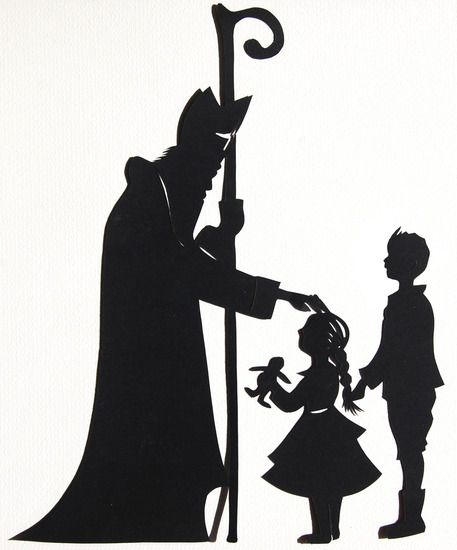 Sinterklaas en kinderen silhouette/stencil/template